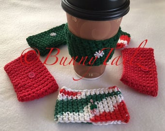 Crochet Cozy, Coffee Cozie, Cozy, Gifts Under 10, Christmas Gift Idea, Red, White, Green