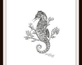 Printable Wall Art: Seahorse and Coral