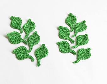 Crochet leaves, 4x2 cm , 12 pc., small appliques,  shamrock green