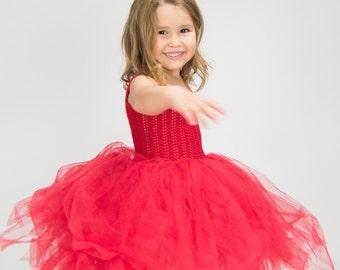 Ready to ship. Size 3/4 Years. Christmas Tutu dress
