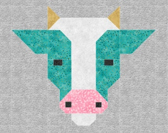 Cow Quilt BLOCK Pattern, PDF, Instant Download, modern patchwork, cattle, animal, cute, fresh, farm