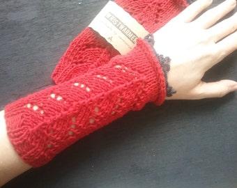 handknitted wristwarmer , cotton, dark red