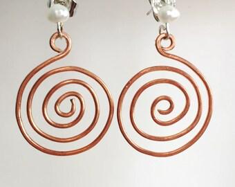 Stompdance Spiral Post Copper Earrings Tsalagi Cherokee Made