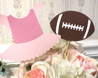 6 piece - Touchdowns or Tutus - Gender Reveal - Table Decorations - Centerpiece Picks - Pink vs Blue - team pink or blue - Party Decor