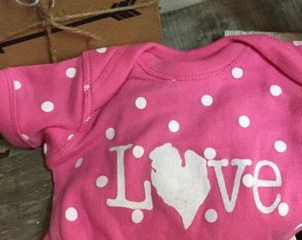 love Michigan Infant Onesie • valentine Baby Apparel • Baby Polka Dot printed Onesie • michigan Baby •  Screenprint Onesie