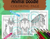 Animal Doodle Coloring Page for Adult Coloring Giraffe Elephant Zebra Safari pack in Tangle style