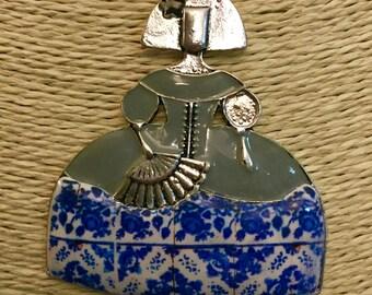 Long Necklace, Portuguese Tile Replica Polymer Clay, doll necklace antique tile, Metal antique silver necklace