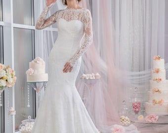 Lace Wedding Dress - Charlotte Bridal Stunning Wedding Dress with Train  - Chantilly Dress - Long Sleeve Dress - Open Back Wedding Dress