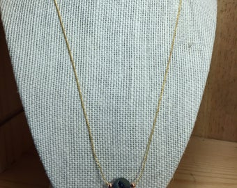 Blue/Silver Natural Agate Druzy Necklace