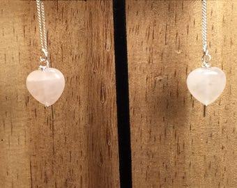 Rose Quartz Heart Threader Earrings