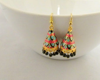 Meenakari Hand Crafted Lightweight Jhumka  Dangle Earrings