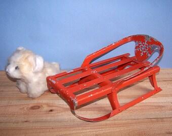 Vintage Toy Sledge. Metal Sleigh. Child Toy. Soviet Era
