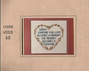 """PATTY ANN Creations.  Cross Stitch Kit """"MEMORY"""" # 608.  One hundred per cent cotton fabric, floss, needle and instructions. Unopened package"""