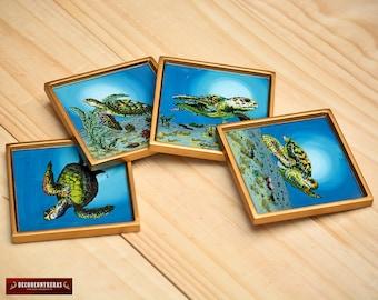 Hand painted Glass Coasters Set of 4 - Square Glass Coasters Barware - Sea Turtles Desing - Coaster Tableware - Peruvian Handicrafts