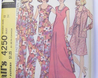 VINTAGE 1970s McCall's 4250 Jacket, Dress, Pants, & Top for KNITS Pattern sz 12 bust 34 Complete