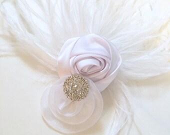 White Hair Flower Fascinator, Vintage Wedding Hair Clip, Feather Flower Rhinestone Hair Piece, White Satin Rose Feather Hair Clip