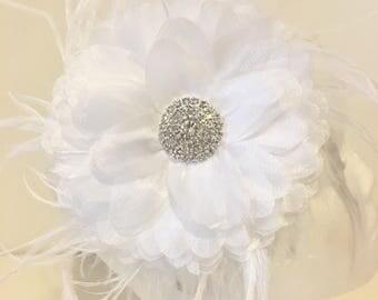 White Flower Hair Fascinator Bridal Headband, Lace Chiffon Flower Feather Headband Fascinator, Flower Girl Headband