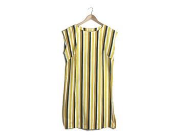 Yellow striped dress / hand made shift dress / vintage striped shift dress / 60s style stright dress / yellow blue stripes / boho dress