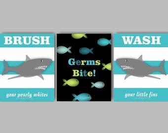 Shark Bathroom, Kids Bathroom, Kids Bath Print, Ocean Bathroom Art, Kids Bath Art, Bathroom Wall Art, Bathroom Rules - CHOOSE COLORS KB05
