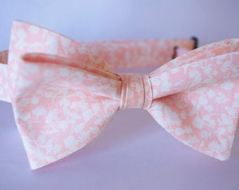 blush coral tie,floral bow tie,blush floral tie,coral bow tie for men