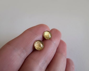 Sparkly Gold Stud Earrings - Hypoallergenic Titanium Posts