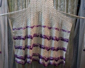 Vintage Homemade Crocheted Lavender and White Full Apron