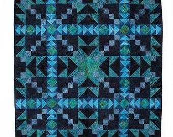 Aurora Borealis Teal Blue Jinny Beyer Batik Quilt Kit Fabric Quilt Kit 56 x 56
