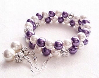 Pearl Bracelet, Purple Bracelet, Purple Jewelry, Wedding, Pearl Jewelry, Bridesmaid Gift