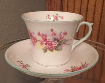 Vintage Shelley bone china pink blossom cup and saucer