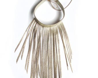 Leather necklace choker fringe 2 in 1 golden and caramel