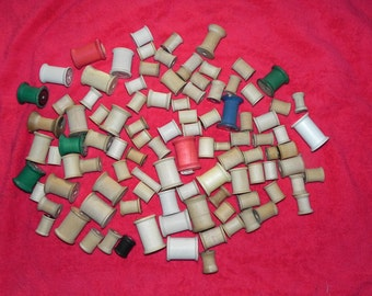 Wooden Sewing Spools Lot of 100+ Various Manufacturers, Colors, Sizes - Arts & Crafts
