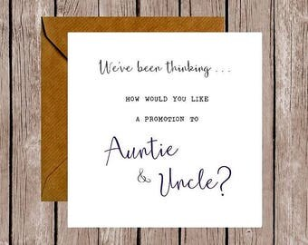 We've Been Thinking... How Would You Like a Promotion to Auntie & Uncle Pregnancy Announcement Card