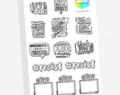 RESIST Doodle Plans Hand Lettered Planner Stickers // Original Art Stickers!