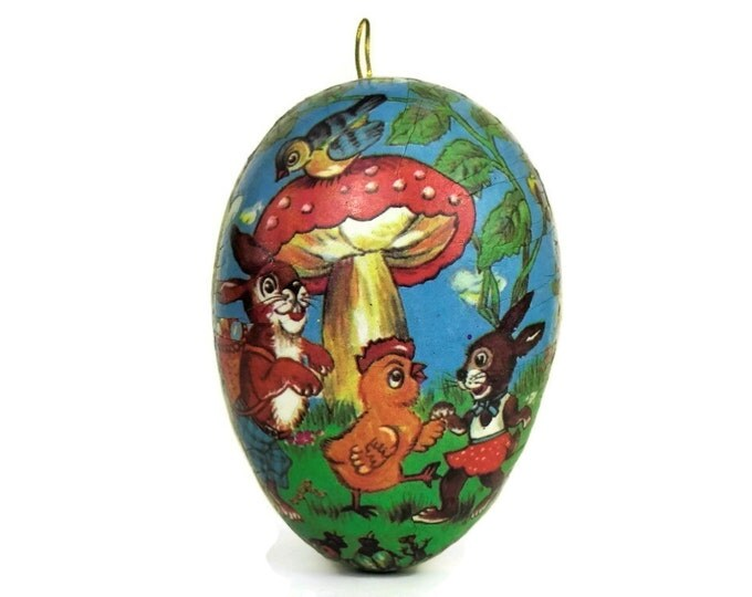 Vintage French Easter Egg. Papier Maché Easter Ornament. Woodland Illustration with Chick and Rabbits.