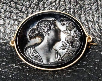 Antique Jet Cameo Brooch Classical Theme Circa 1880