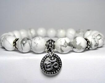 Om Bracelet, Yoga Bracelet, Howlite Bracelet, Bracelet, Yoga Gift, Yoga Jewelry, Gift for Her, Om Charm Bracelet, White Beaded Bracelet