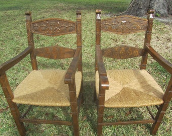 Antique Wood Chairs, Furniture, primitive, Rush seat, Wood Chair, Side Chair,ladder back, hand carved