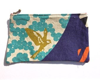 Blue and Purple Bird Zippered Pouch, Geometric Modern Pencil Case