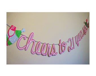 Cheers Birthday Party Banner ; 21st Birthday Banner ; 50th Birthday ; Champagne Party Decor ;Happy Birthday Glitter Banner; Champagne Banner