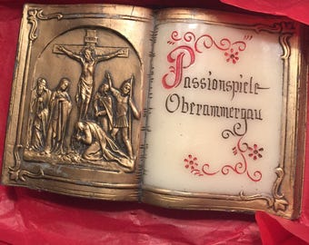 1950s  Vintage Easter German Wax Bible Passionspiele Oberammergau Passion Play Religious Christian Faith Wax Art Piece Handmade