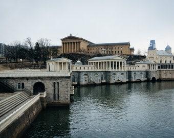 Fairmount Water Works & the Philadelphia Museum of Art in Philadelphia, Pennsylvania. | Photo Print, Stretched Canvas, or Metal Print.