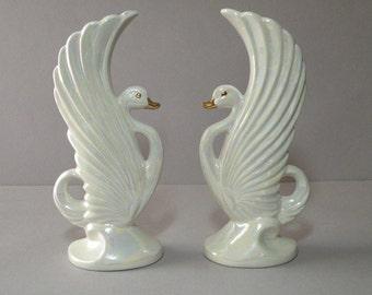 White Swan Vases