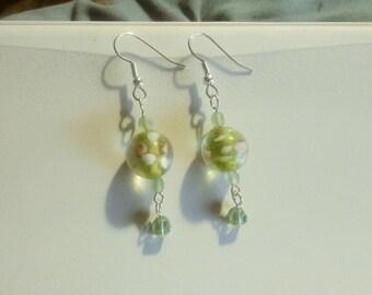 Glass Green Rose Bead Earrings