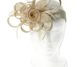 Occasion hats for Women, 1920's style, Wide Satin Headband Velcro attached, Party Hat, Fascinator for weddings or the Races, Retro - Beige