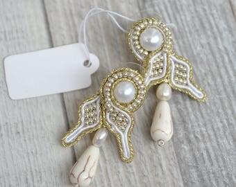 Christina - Wedding luxury soutache earrings with natural fresh water pearls