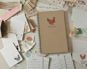 """Illustrated Planning Journal Kit; Weekly Planner; Illustrated Planner Kit; Bullet Journal kit ~ Chicken Themed, Spiral bound 5 1/2 x 8"""""""
