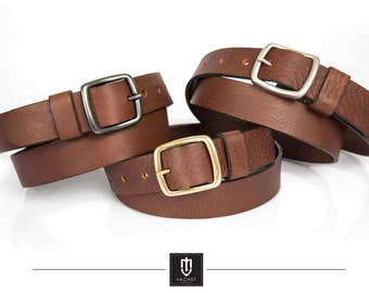Handmade brown leather belt with solid brass buckles available in 3 colours, made of high quality full grain Italian cow leather