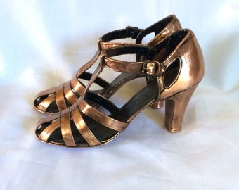 1940's Preserved in Bronze Metal Strappy High Heels