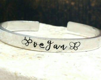 Vegan butterfly swirly girly script font bracelet - adjustable - handstamped - aluminium, copper, brass or sterling silver