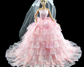 Gorgeous Handmade Pink Wedding Party Dress Princess Gown Clothes For Barbie Dolls